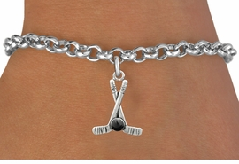 <BR>         NICKEL FREE & ADJUSTABLE BRACELET ! <BR>WHOLESALE HOCKEY LOBSTER CHAIN BRACELET <bR>                            EXCLUSIVELY OURS!! <Br>                       AN ALLAN ROBIN DESIGN!! <BR>                 LEAD, NICKEL & CADMIUM FREE!! <BR>              W21596B - SILVER TONE HOCKEY STICKS <BR>            AND PUCK CHARM ON LOBSTER CLASP BRACELET <BR>                     FROM $4.50 TO $10.00 �2015