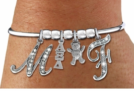 <BR>          NICKEL FREE & ADJUSTABLE AUTHORIZED BRACELET !<br>                 W21605B  NEW SORORITY CHARM BRACELET <br>             PERSONALIZE IT WITH YOUR CRYSTAL INITIALS     <br>     OR YOUR BIG SISTERS, LITTLE SISTERS, OR AN ALUMS<br>  INITIALS. ADD YOUR SORORITY'S GREEK LETTERS, YOUR<br>SORORITY'S MASCOT.  LEAD, NICKLE, AND  CADMIUM FREE<BR>             EXCLUSIVELY OURS, AN ALLAN ROBIN DESIGN. <BR>                               W21605B  ONLY $18.25   �2015
