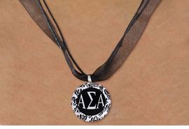 <BR>   NICKEL FREE & ADJUSTABLE NECKLACE !<BR> WHOLESALE FASHION SORORITY JEWELRY <BR>                 EXCLUSIVELY OURS!! <BR>            AN ALLAN ROBIN DESIGN!! <BR>      LEAD, NICKEL & CADMIUM FREE!! <BR>  W21626N - OFFICIAL GREEK SORORITY <BR>      ALPHA SIGMA ALPHA DISK CHARM ON <Br>        BLACK SHEER CORDED NECKLACE <BR>          FROM $4.16 TO $9.25 �2015
