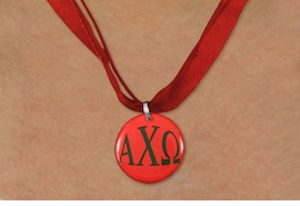<BR>   NICKEL FREE & ADJUSTABLE NECKLACE !<BR> WHOLESALE FASHION SORORITY JEWELRY <BR>                 EXCLUSIVELY OURS!! <BR>            AN ALLAN ROBIN DESIGN!! <BR>      LEAD, NICKEL & CADMIUM FREE!! <BR>  W21644N - OFFICIAL GREEK SORORITY <BR>ALPHA CHI OMEGA COLOR DISK CHARM ON <Br>     RED SHEER DUAL CORDED NECKLACE <BR>          FROM $4.16 TO $9.25 �2015