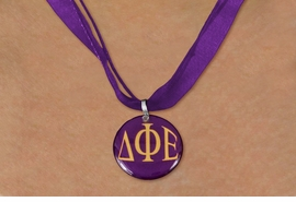<BR>   NICKEL FREE & ADJUSTABLE NECKLACE !<BR> WHOLESALE FASHION SORORITY JEWELRY <BR>                 EXCLUSIVELY OURS!! <BR>            AN ALLAN ROBIN DESIGN!! <BR>      LEAD, NICKEL & CADMIUM FREE!! <BR>  W21654N - OFFICIAL GREEK SORORITY <BR> DELTA PHI EPSILON COLOR DISK CHARM ON <Br>  PURPLE SHEER DUAL CORDED NECKLACE <BR>          FROM $4.16 TO $9.25 �2015