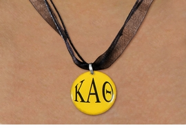 <BR>   NICKEL FREE & ADJUSTABLE NECKLACE !<BR> WHOLESALE FASHION SORORITY JEWELRY <BR>                 EXCLUSIVELY OURS!! <BR>            AN ALLAN ROBIN DESIGN!! <BR>      LEAD, NICKEL & CADMIUM FREE!! <BR>  W21656N - OFFICIAL GREEK SORORITY <BR> KAPPA ALPHA THETA COLOR DISK CHARM ON <Br>  BLACK SHEER DUAL CORDED NECKLACE <BR>          FROM $4.16 TO $9.25 �2015