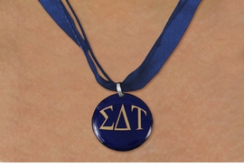 <BR>   NICKEL FREE & ADJUSTABLE NECKLACE !<BR> WHOLESALE FASHION SORORITY JEWELRY <BR>                 EXCLUSIVELY OURS!! <BR>            AN ALLAN ROBIN DESIGN!! <BR>      LEAD, NICKEL & CADMIUM FREE!! <BR>  W21662N - OFFICIAL GREEK SORORITY <BR> SIGMA DELTA TAU COLOR DISK CHARM ON <Br>NAVY BLUE SHEER DUAL CORDED NECKLACE <BR>          FROM $4.16 TO $9.25 �2015