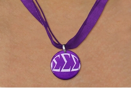 <BR>   NICKEL FREE & ADJUSTABLE NECKLACE !<BR> WHOLESALE FASHION SORORITY JEWELRY <BR>                 EXCLUSIVELY OURS!! <BR>            AN ALLAN ROBIN DESIGN!! <BR>      LEAD, NICKEL & CADMIUM FREE!! <BR>  W21664N - OFFICIAL GREEK SORORITY <BR>SIGMA SIGMA SIGMA COLOR DISK CHARM ON <Br>  PURPLE SHEER DUAL CORDED NECKLACE <BR>          FROM $4.16 TO $9.25 �2015