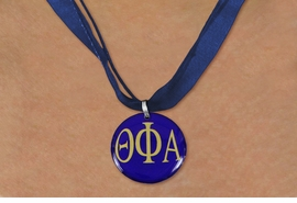 <BR> WHOLESALE FASHION SORORITY JEWELRY <BR>                 EXCLUSIVELY OURS!! <BR>            AN ALLAN ROBIN DESIGN!! <BR>      LEAD, NICKEL & CADMIUM FREE!! <BR>  W21665N - OFFICIAL GREEK SORORITY <BR>THETA PHI ALPHA COLOR DISK CHARM ON <Br>NAVY BLUE SHEER DUAL CORDED NECKLACE <BR>          FROM $4.16 TO $9.25 �2015