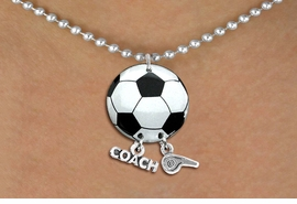 "<BR>   NICKEL FREE & ADJUSTABLE NECKLACE !<Br>                  EXCLUSIVELY OURS!!<Br>            AN ALLAN ROBIN DESIGN!!<Br>                 LEAD & NICKEL FREE!! <BR>       THIS IS A PERSONALIZED ITEM <Br>W21668N - SILVER TONE BALL CHAIN <BR>NECKLACE AND SOCCER BALL PENDANT <BR>WITH ""COACH"" AND ""WHISTLE"" CHARMS<BR>        FROM $7.65 TO $17.00 �2014"