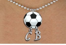 <Br>                  EXCLUSIVELY OURS!!<Br>            AN ALLAN ROBIN DESIGN!!<Br>                 LEAD & NICKEL FREE!! <BR>       THIS IS A PERSONALIZED ITEM <Br>W21669N - SILVER TONE BALL CHAIN <BR>NECKLACE AND SOCCER BALL PENDANT <BR>            WITH YOUR INITIALS <BR>        FROM $7.65 TO $17.00 �2014
