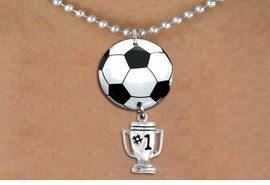 "<Br>                  EXCLUSIVELY OURS!!<Br>            AN ALLAN ROBIN DESIGN!!<Br>                 LEAD & NICKEL FREE!! <Br>W21671N - SILVER TONE BALL CHAIN <BR>NECKLACE AND SOCCER BALL PENDANT <BR>WITH SILVER TONE ""#1 TROPHY"" CHARM <BR>        FROM $7.31 TO $16.25 �2015"
