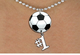"<Br>                  EXCLUSIVELY OURS!!<Br>            AN ALLAN ROBIN DESIGN!!<Br>                 LEAD & NICKEL FREE!! <Br>W21673N - SILVER TONE BALL CHAIN <BR>NECKLACE AND SOCCER BALL PENDANT <BR>WITH SILVER TONE ""#1"" CHARM <BR>        FROM $7.31 TO $16.25 �2015"