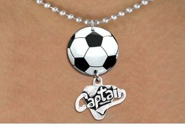 "<Br>                  EXCLUSIVELY OURS!!<Br>            AN ALLAN ROBIN DESIGN!!<Br>                 LEAD & NICKEL FREE!! <Br>W21674N - SILVER TONE BALL CHAIN <BR>NECKLACE AND SOCCER BALL PENDANT <BR>WITH SILVER TONE ""CAPTAIN"" CHARM <BR>        FROM $7.31 TO $16.25 �2015"