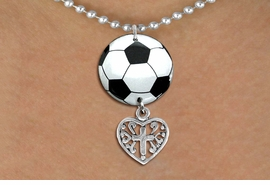 <BR>   NICKEL FREE & ADJUSTABLE NECKLACE !<Br>                  EXCLUSIVELY OURS!!<Br>            AN ALLAN ROBIN DESIGN!!<Br>                 LEAD & NICKEL FREE!! <Br>W21675N - SILVER TONE BALL CHAIN <BR>NECKLACE AND SOCCER BALL PENDANT <BR>WITH DETAILED CROSS HEART CHARM <BR>        FROM $7.31 TO $16.25 �2015