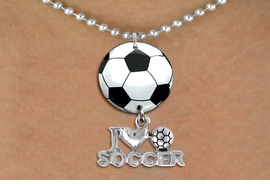"<Br>                  EXCLUSIVELY OURS!!<Br>            AN ALLAN ROBIN DESIGN!!<Br>                 LEAD & NICKEL FREE!! <Br>W21676N - SILVER TONE BALL CHAIN <BR>NECKLACE AND SOCCER BALL PENDANT <BR>WITH SILVER TONE ""I LOVE SOCCER"" CHARM <BR>        FROM $7.31 TO $16.25 �2015"