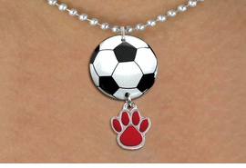 <BR>   NICKEL FREE & ADJUSTABLE NECKLACE !<Br>                  EXCLUSIVELY OURS!!<Br>            AN ALLAN ROBIN DESIGN!!<Br>                 LEAD & NICKEL FREE!! <Br>W21677N - SILVER TONE BALL CHAIN <BR>NECKLACE AND SOCCER BALL PENDANT <BR>WITH YOUR CUSTOM COLOR PAW PRINT CHARM <BR>        FROM $7.31 TO $16.25 �2015