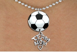 "<Br>                  EXCLUSIVELY OURS!!<Br>            AN ALLAN ROBIN DESIGN!!<Br>                 LEAD & NICKEL FREE!! <Br>W21678N - SILVER TONE BALL CHAIN <BR>NECKLACE AND SOCCER BALL PENDANT <BR>WITH SILVER TONE ""TEAM MOM"" CHARM <BR>        FROM $7.31 TO $16.25 �2015"