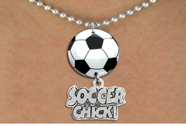 "<Br>                  EXCLUSIVELY OURS!!<Br>            AN ALLAN ROBIN DESIGN!!<Br>                 LEAD & NICKEL FREE!! <Br>W21679N - SILVER TONE BALL CHAIN <BR>NECKLACE AND SOCCER BALL PENDANT <BR>WITH SILVER TONE ""SOCCER CHICK!"" CHARM <BR>        FROM $7.31 TO $16.25 �2015"