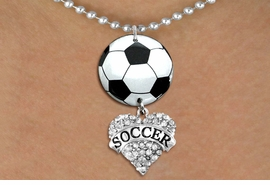 "<Br>                  EXCLUSIVELY OURS!!<Br>            AN ALLAN ROBIN DESIGN!!<Br>                 LEAD & NICKEL FREE!! <Br>W21680N - SILVER TONE BALL CHAIN <BR>NECKLACE AND SOCCER BALL PENDANT <BR>WITH CRYSTAL & SILVER TONE ""SOCCER"" HEART CHARM <BR>        FROM $7.31 TO $16.25 �2015"