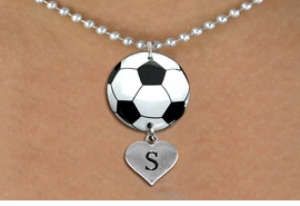 <Br>                  EXCLUSIVELY OURS!!<Br>            AN ALLAN ROBIN DESIGN!!<Br>                 LEAD & NICKEL FREE!! <Br>W21682N - SILVER TONE BALL CHAIN <BR>NECKLACE AND SOCCER BALL PENDANT <BR>WITH CUSTOM INITIAL HEART CHARM <BR>        FROM $7.31 TO $16.25 �2015