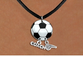 "<Br>                  EXCLUSIVELY OURS!!<Br>            AN ALLAN ROBIN DESIGN!!<Br>                 LEAD & NICKEL FREE!! <BR>       THIS IS A PERSONALIZED ITEM <Br>W21683N - BLACK SUEDE LEATHERETTE <BR>NECKLACE AND SOCCER BALL PENDANT <BR>WITH ""COACH"" AND ""WHISTLE"" CHARMS<BR>        FROM $7.65 TO $17.00 �2014"