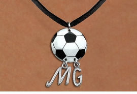 <BR>   NICKEL FREE & ADJUSTABLE NECKLACE !<Br>                  EXCLUSIVELY OURS!!<Br>            AN ALLAN ROBIN DESIGN!!<Br>                 LEAD & NICKEL FREE!! <BR>       THIS IS A PERSONALIZED ITEM <Br>W21684N - BLACK SUEDE LEATHERETTE <BR>NECKLACE AND SOCCER BALL PENDANT <BR>            WITH YOUR INITIALS <BR>        FROM $7.65 TO $17.00 �2014