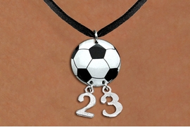 <Br>                  EXCLUSIVELY OURS!!<Br>            AN ALLAN ROBIN DESIGN!!<Br>                 LEAD & NICKEL FREE!! <BR>       THIS IS A PERSONALIZED ITEM <Br>W21685N - BLACK SUEDE LEATHERETTE <BR>NECKLACE AND SOCCER BALL PENDANT <BR>         WITH YOUR TEAM NUMBER <BR>        FROM $7.65 TO $17.00 �2014