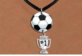 "<BR>   NICKEL FREE & ADJUSTABLE NECKLACE !<Br>                  EXCLUSIVELY OURS!!<Br>            AN ALLAN ROBIN DESIGN!!<Br>                 LEAD & NICKEL FREE!! <Br>W21686N - BLACK SUEDE LEATHERETTE <BR>NECKLACE AND SOCCER BALL PENDANT <BR>WITH SILVER TONE ""#1 TROPHY"" CHARM <BR>        FROM $7.31 TO $16.25 �2015"