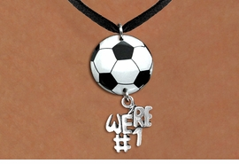 "<Br>                  EXCLUSIVELY OURS!!<Br>            AN ALLAN ROBIN DESIGN!!<Br>                 LEAD & NICKEL FREE!! <Br>W21687N - BLACK SUEDE LEATHERETTE <BR>NECKLACE AND SOCCER BALL PENDANT <BR>WITH SILVER TONE ""WE'RE #1"" CHARM <BR>        FROM $7.31 TO $16.25 �2015"