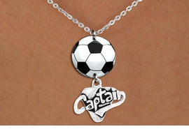 "<Br>                  EXCLUSIVELY OURS!!<Br>            AN ALLAN ROBIN DESIGN!!<Br>                 LEAD & NICKEL FREE!! <Br>W21688N - SILVER TONE CHAIN CLASP <BR>NECKLACE AND SOCCER BALL PENDANT <BR>WITH SILVER TONE ""CAPTAIN"" CHARM <BR>        FROM $7.31 TO $16.25 �2015"