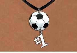 "<Br>                  EXCLUSIVELY OURS!!<Br>            AN ALLAN ROBIN DESIGN!!<Br>                 LEAD & NICKEL FREE!! <Br>W21689N - BLACK SUEDE LEATHERETTE <BR>NECKLACE AND SOCCER BALL PENDANT <BR>WITH SILVER TONE ""#1"" CHARM <BR>        FROM $7.31 TO $16.25 �2015"