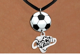 "<BR>   NICKEL FREE & ADJUSTABLE NECKLACE !<Br>                  EXCLUSIVELY OURS!!<Br>            AN ALLAN ROBIN DESIGN!!<Br>                 LEAD & NICKEL FREE!! <Br>W21690N - BLACK SUEDE LEATHERETTE <BR>NECKLACE AND SOCCER BALL PENDANT <BR>WITH SILVER TONE ""CAPTAIN"" CHARM <BR>        FROM $7.31 TO $16.25 �2015"