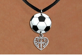 <Br>                  EXCLUSIVELY OURS!!<Br>            AN ALLAN ROBIN DESIGN!!<Br>                 LEAD & NICKEL FREE!! <Br>W21691N - BLACK SUEDE LEATHERETTE <BR>NECKLACE AND SOCCER BALL PENDANT <BR>WITH DETAILED CROSS HEART CHARM <BR>        FROM $7.31 TO $16.25 �2015