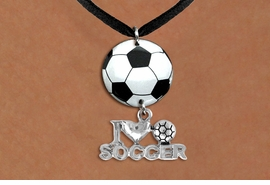 "<Br>                  EXCLUSIVELY OURS!!<Br>            AN ALLAN ROBIN DESIGN!!<Br>                 LEAD & NICKEL FREE!! <Br>W21692N - BLACK SUEDE LEATHERETTE <BR>NECKLACE AND SOCCER BALL PENDANT <BR>WITH SILVER TONE ""I LOVE SOCCER"" CHARM <BR>        FROM $7.31 TO $16.25 �2015"