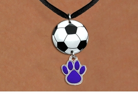 <Br>                  EXCLUSIVELY OURS!!<Br>            AN ALLAN ROBIN DESIGN!!<Br>                 LEAD & NICKEL FREE!! <Br>W21693N - BLACK SUEDE LEATHERETTE <BR>NECKLACE AND SOCCER BALL PENDANT <BR>WITH YOUR CUSTOM COLOR PAW PRINT CHARM <BR>        FROM $7.31 TO $16.25 �2015