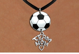 "<BR>   NICKEL FREE & ADJUSTABLE NECKLACE !<Br>                  EXCLUSIVELY OURS!!<Br>            AN ALLAN ROBIN DESIGN!!<Br>                 LEAD & NICKEL FREE!! <Br>W21694N - BLACK SUEDE LEATHERETTE <BR>NECKLACE AND SOCCER BALL PENDANT <BR>WITH SILVER TONE ""TEAM MOM"" CHARM <BR>        FROM $7.31 TO $16.25 �2015"
