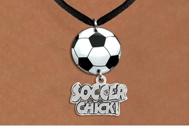 "<Br>                  EXCLUSIVELY OURS!!<Br>            AN ALLAN ROBIN DESIGN!!<Br>                 LEAD & NICKEL FREE!! <Br>W21695N - BLACK SUEDE LEATHERETTE <BR>NECKLACE AND SOCCER BALL PENDANT <BR>WITH SILVER TONE ""SOCCER CHICK!"" CHARM <BR>        FROM $7.31 TO $16.25 �2015"