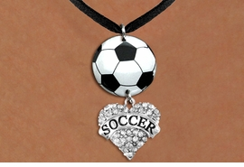 "<BR>   NICKEL FREE & ADJUSTABLE NECKLACE !<Br>                  EXCLUSIVELY OURS!!<Br>            AN ALLAN ROBIN DESIGN!!<Br>                 LEAD & NICKEL FREE!! <Br>W21696N - BLACK SUEDE LEATHERETTE <BR>NECKLACE AND SOCCER BALL PENDANT <BR>WITH CRYSTAL & SILVER TONE ""SOCCER"" HEART CHARM <BR>        FROM $7.31 TO $16.25 �2015"