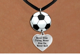 "<Br>                  EXCLUSIVELY OURS!!<Br>            AN ALLAN ROBIN DESIGN!!<Br>                 LEAD & NICKEL FREE!! <Br>W21697N - BLACK SUEDE LEATHERETTE <BR>NECKLACE AND SOCCER BALL PENDANT <BR>WITH ""NEVER STOP TRYING..."" HEART CHARM <BR>        FROM $7.31 TO $16.25 �2015"