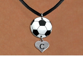 <Br>                  EXCLUSIVELY OURS!!<Br>            AN ALLAN ROBIN DESIGN!!<Br>                 LEAD & NICKEL FREE!! <Br>W21698N - BLACK SUEDE LEATHERETTE <BR>NECKLACE AND SOCCER BALL PENDANT <BR>WITH CUSTOM INITIAL HEART CHARM <BR>        FROM $7.31 TO $16.25 �2015