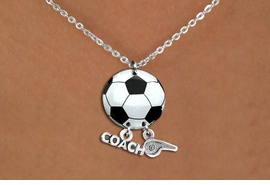"<Br>                  EXCLUSIVELY OURS!!<Br>            AN ALLAN ROBIN DESIGN!!<Br>                 LEAD & NICKEL FREE!! <BR>       THIS IS A PERSONALIZED ITEM <Br>W21669N - LOBSTER CLASP CHAIN <BR>NECKLACE AND SOCCER BALL PENDANT <BR>WITH ""COACH"" AND ""WHISTLE"" CHARMS<BR>        FROM $7.65 TO $17.00 �2014"
