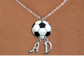 <Br>                  EXCLUSIVELY OURS!!<Br>            AN ALLAN ROBIN DESIGN!!<Br>                 LEAD & NICKEL FREE!! <BR>       THIS IS A PERSONALIZED ITEM <Br>W21700N - LOBSTER CLASP CHAIN <BR>NECKLACE AND SOCCER BALL PENDANT <BR>            WITH YOUR INITIALS <BR>        FROM $7.65 TO $17.00 �2014