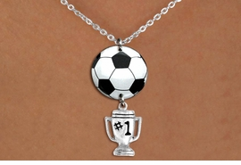 "<Br>                  EXCLUSIVELY OURS!!<Br>            AN ALLAN ROBIN DESIGN!!<Br>                 LEAD & NICKEL FREE!! <Br>W21702N - SILVER TONE CHAIN CLASP <BR>NECKLACE AND SOCCER BALL PENDANT <BR>WITH SILVER TONE ""#1 TROPHY"" CHARM <BR>        FROM $7.31 TO $16.25 �2015"