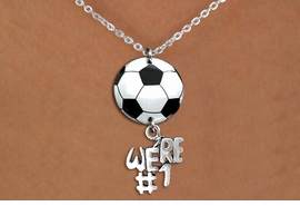 "<Br>                  EXCLUSIVELY OURS!!<Br>            AN ALLAN ROBIN DESIGN!!<Br>                 LEAD & NICKEL FREE!! <Br>W21703N - SILVER TONE CHAIN CLASP <BR>NECKLACE AND SOCCER BALL PENDANT <BR>WITH SILVER TONE ""WE'RE #1"" CHARM <BR>        FROM $7.31 TO $16.25 �2015"