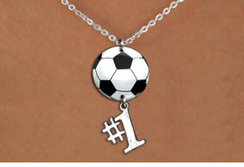"<BR>   NICKEL FREE & ADJUSTABLE NECKLACE !<Br>                  EXCLUSIVELY OURS!!<Br>            AN ALLAN ROBIN DESIGN!!<Br>                 LEAD & NICKEL FREE!! <Br>W21704N - SILVER TONE CHAIN CLASP <BR>NECKLACE AND SOCCER BALL PENDANT <BR>WITH SILVER TONE ""#1"" CHARM <BR>        FROM $7.31 TO $16.25 �2015"