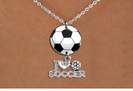 "<BR>   NICKEL FREE & ADJUSTABLE NECKLACE !<Br>                  EXCLUSIVELY OURS!!<Br>            AN ALLAN ROBIN DESIGN!!<Br>                 LEAD & NICKEL FREE!! <Br>W21706N - SILVER TONE CHAIN CLASP <BR>NECKLACE AND SOCCER BALL PENDANT <BR>WITH SILVER TONE ""I LOVE SOCCER"" CHARM <BR>        FROM $7.31 TO $16.25 �2015"