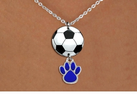 <Br>                  EXCLUSIVELY OURS!!<Br>            AN ALLAN ROBIN DESIGN!!<Br>                 LEAD & NICKEL FREE!! <Br>W21707N - SILVER TONE CLASP CHAIN <BR>NECKLACE AND SOCCER BALL PENDANT <BR>WITH YOUR CUSTOM COLOR PAW PRINT CHARM <BR>        FROM $7.31 TO $16.25 �2015