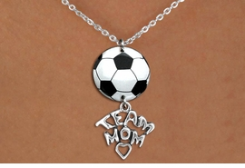 "<Br>                  EXCLUSIVELY OURS!!<Br>            AN ALLAN ROBIN DESIGN!!<Br>                 LEAD & NICKEL FREE!! <Br>W21708N - SILVER TONE CHAIN CLASP <BR>NECKLACE AND SOCCER BALL PENDANT <BR>WITH SILVER TONE ""TEAM MOM"" CHARM <BR>        FROM $7.31 TO $16.25 �2015"