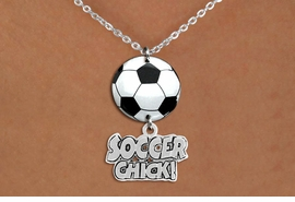 "<BR>   NICKEL FREE & ADJUSTABLE NECKLACE !<Br>                  EXCLUSIVELY OURS!!<Br>            AN ALLAN ROBIN DESIGN!!<Br>                 LEAD & NICKEL FREE!! <Br>W21709N - SILVER TONE CHAIN CLASP <BR>NECKLACE AND SOCCER BALL PENDANT <BR>WITH SILVER TONE ""SOCCER CHICK!"" CHARM <BR>        FROM $7.31 TO $16.25 �2015"