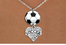 "<Br>                  EXCLUSIVELY OURS!!<Br>            AN ALLAN ROBIN DESIGN!!<Br>                 LEAD & NICKEL FREE!! <Br>W21710N - SILVER TONE CLASP CHAIN <BR>NECKLACE AND SOCCER BALL PENDANT <BR>WITH CRYSTAL & SILVER TONE ""SOCCER"" HEART CHARM <BR>        FROM $7.31 TO $16.25 �2015"