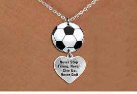 "<Br>                  EXCLUSIVELY OURS!!<Br>            AN ALLAN ROBIN DESIGN!!<Br>                 LEAD & NICKEL FREE!! <Br>W21711N - SILVER TONE CLASP CHAIN <BR>NECKLACE AND SOCCER BALL PENDANT <BR>WITH ""NEVER STOP TRYING..."" HEART CHARM <BR>        FROM $7.31 TO $16.25 �2015"