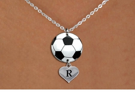 <BR>   NICKEL FREE & ADJUSTABLE NECKLACE !<Br>                  EXCLUSIVELY OURS!!<Br>            AN ALLAN ROBIN DESIGN!!<Br>                 LEAD & NICKEL FREE!! <Br>W21712N - SILVER TONE CLASP CHAIN <BR>NECKLACE AND SOCCER BALL PENDANT <BR>WITH CUSTOM INITIAL HEART CHARM <BR>        FROM $7.31 TO $16.25 �2015