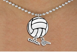 "<Br>                  EXCLUSIVELY OURS!!<Br>            AN ALLAN ROBIN DESIGN!!<Br>                 LEAD & NICKEL FREE!! <BR>       THIS IS A PERSONALIZED ITEM <Br>W21713N - SILVER TONE BALL CHAIN <BR>NECKLACE AND VOLLEYBALL PENDANT <BR>WITH ""COACH"" AND ""WHISTLE"" CHARMS<BR>        FROM $7.65 TO $17.00 �2014"
